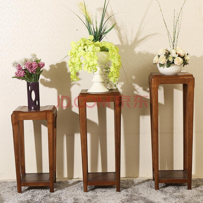 爱绿居 全实木花架 现代中式风胡桃木花架 装饰架 置物架 胡桃木色图片