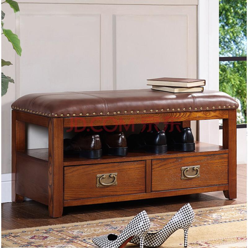 居美林 家具美式门厅换鞋凳 高档欧式抽屉实木换鞋凳美式实木鞋凳图片