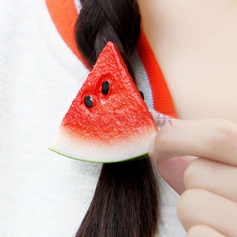 韩国饰品柠檬片可爱软妹发饰田园清新水果发夹边夹发圈头饰皮筋 红