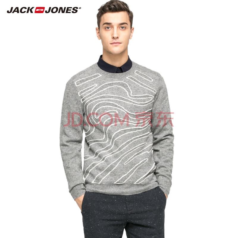 杰克琼斯JackJones针织衫含羊毛男士修身套头针织衫E|215424015 106花灰 175/96A/M
