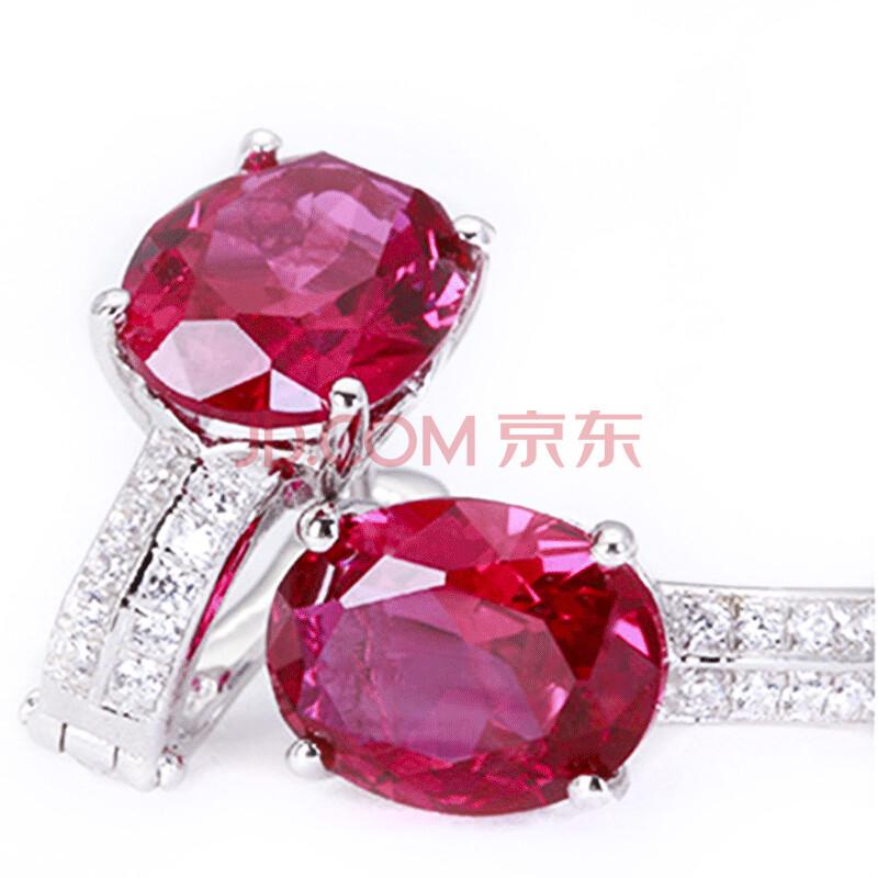 红宝石925银镶彩宝椭圆形红宝石吊坠项链 戒指耳钉女款3件套装 耳环