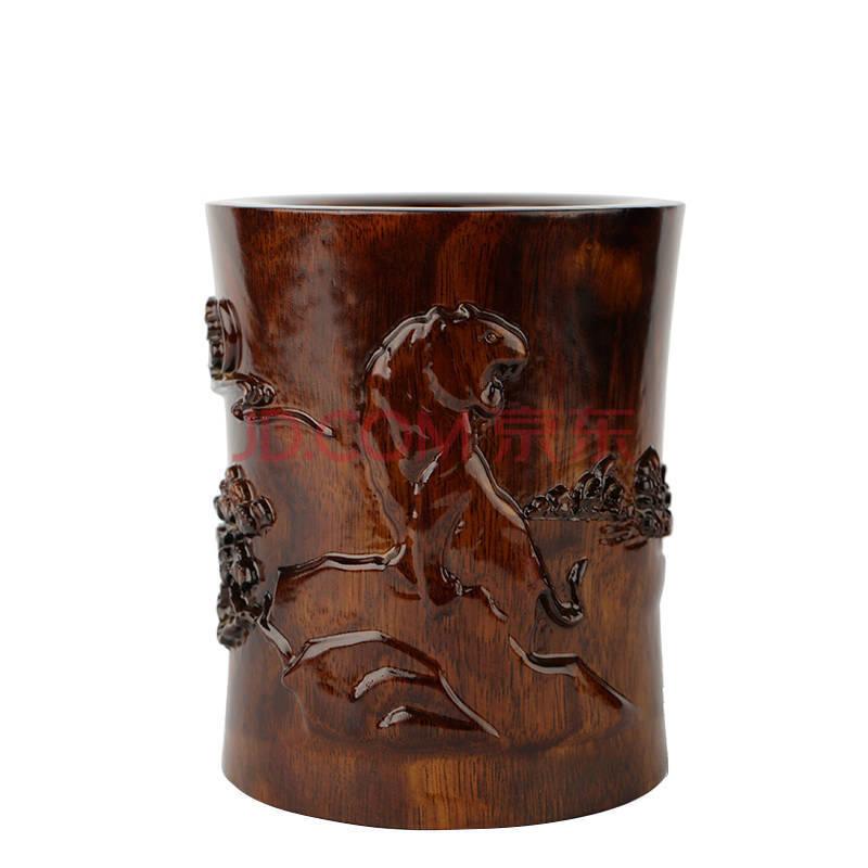 红木工艺品文房四宝摆件浮雕刻 十二生肖木雕笔筒 新款商务礼品包邮