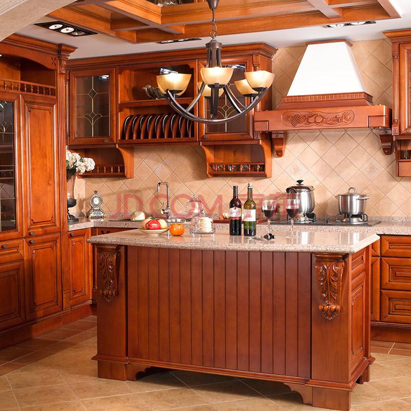 欧睿橱柜 整体橱柜 南美樱桃木实木整体厨房 石英石台面 1米下柜 0.图片
