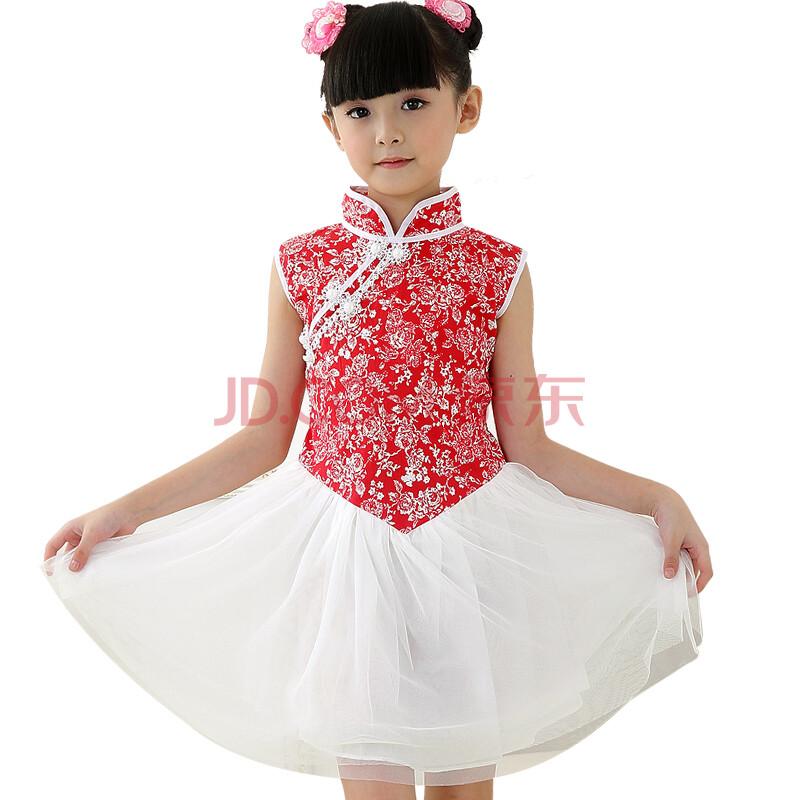 儿童民族公主裙 红色旗袍纱裙