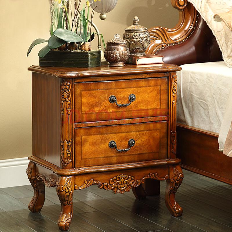 巴博丽 后海 卧室实木床头柜 美式床边柜子 欧式古典橡木色收纳柜 c-2图片
