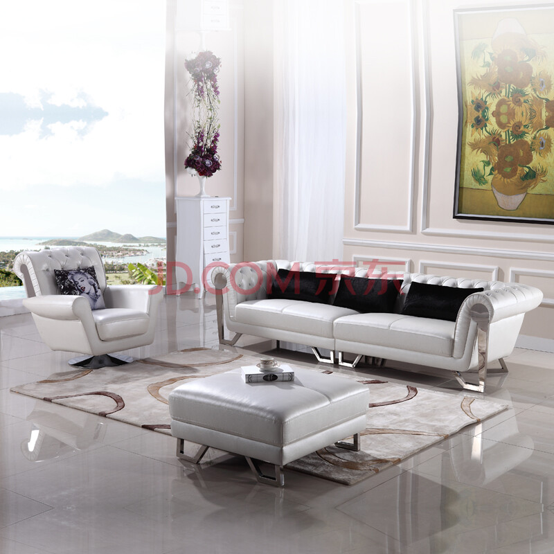 简约欧式 小户型厅客厅组合真皮沙发xdy