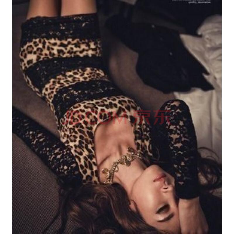 春装新款性感夜店 豹纹蕾丝修身包臀显瘦连衣裙 图片色 均码图片