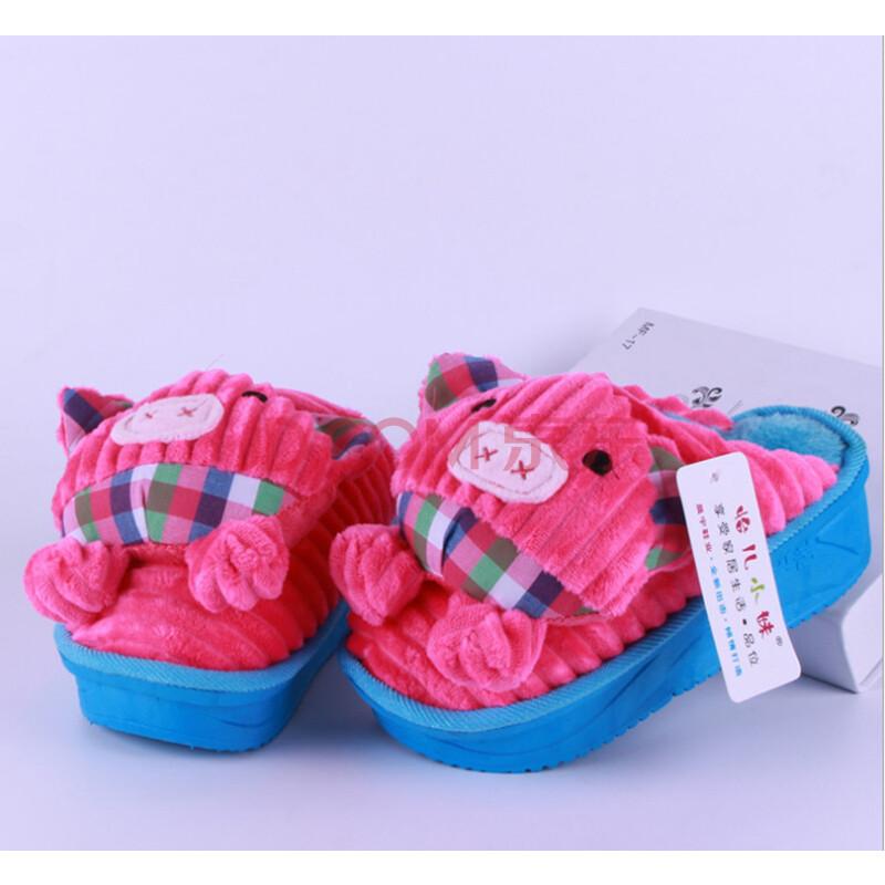 冬季可爱猪猪高跟棉拖鞋女士家居摇摇鞋室内防水台保暖防滑拖鞋 wnn