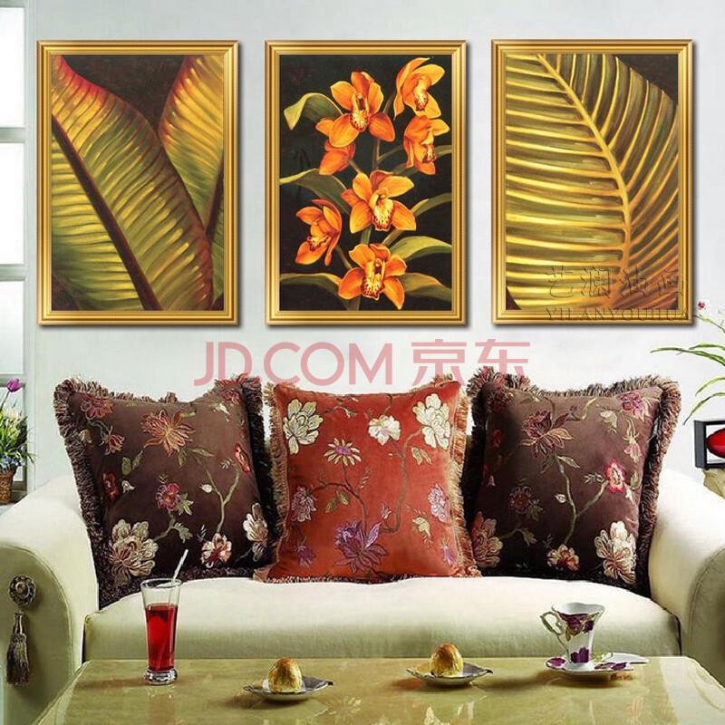 艺澜东南亚手绘油画泰式风格 简约客厅三联拼套装饰画竖版芭蕉叶mj306