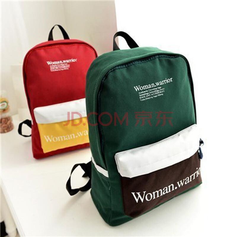 女包品牌韩版新款拼色帆布双肩包女包 帆布书包女中学生书包 红图片