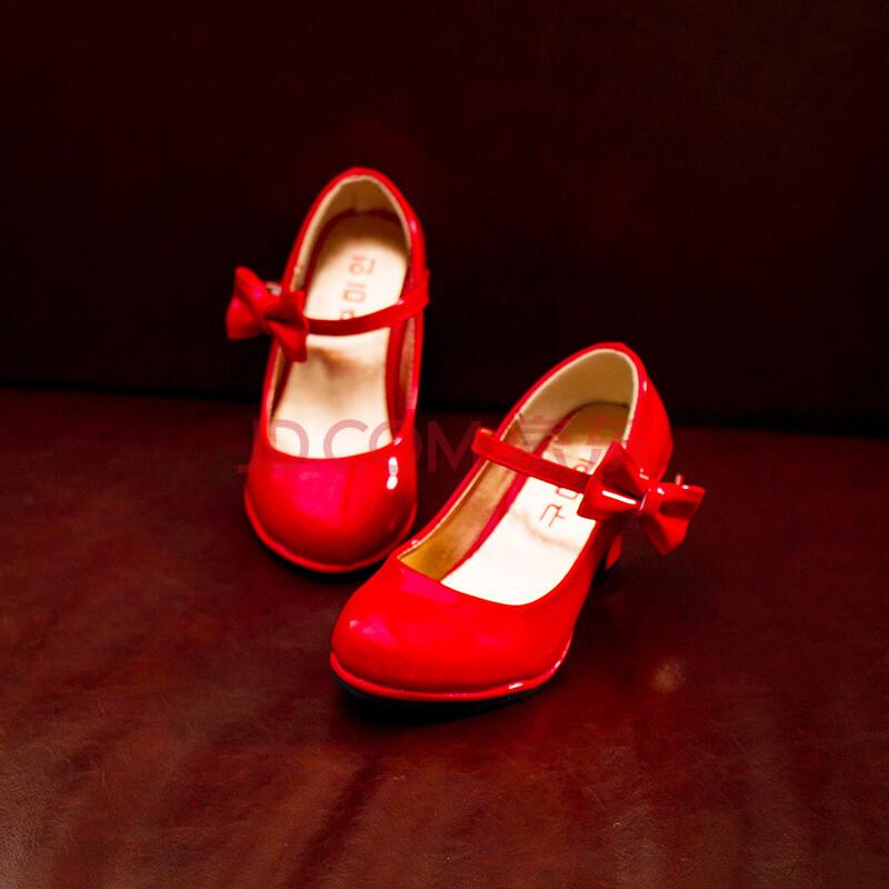2016童鞋女童皮鞋春款儿童高跟鞋韩版公主鞋蝴蝶结舞蹈表演鞋3-6小