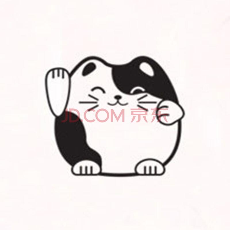 招财猫开光贴创意时尚黑白卡通可爱随意贴家居装饰可移除墙贴 调皮的