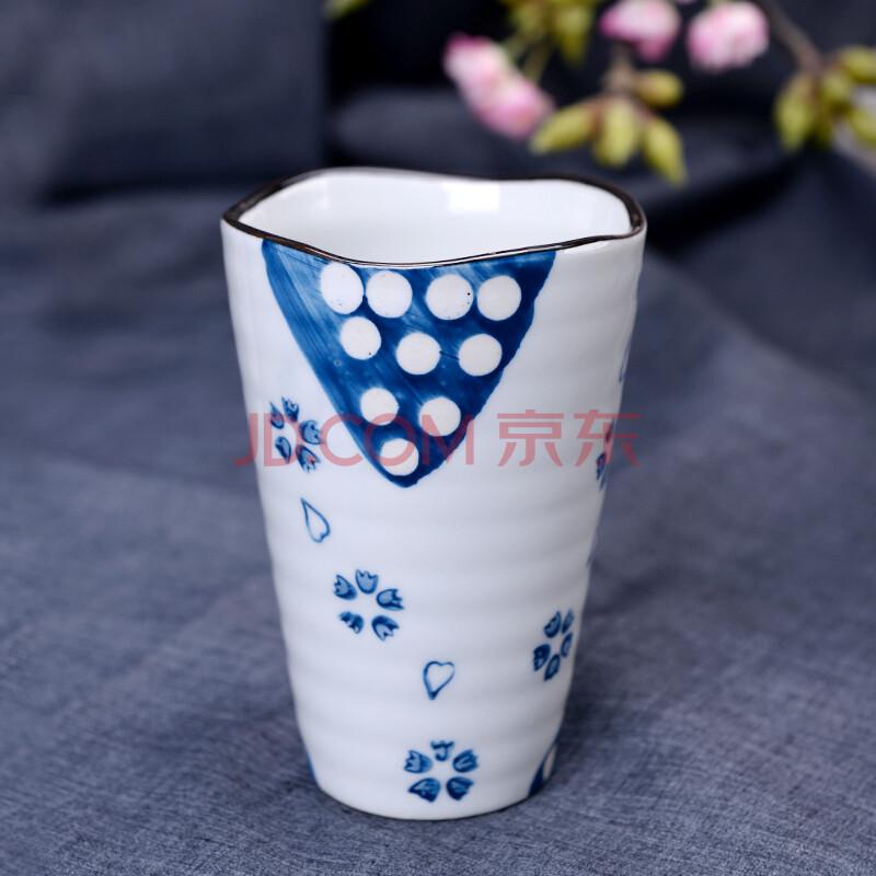 日式手绘水杯 陶瓷杯 马克杯 浪口杯 无把手杯 三角波