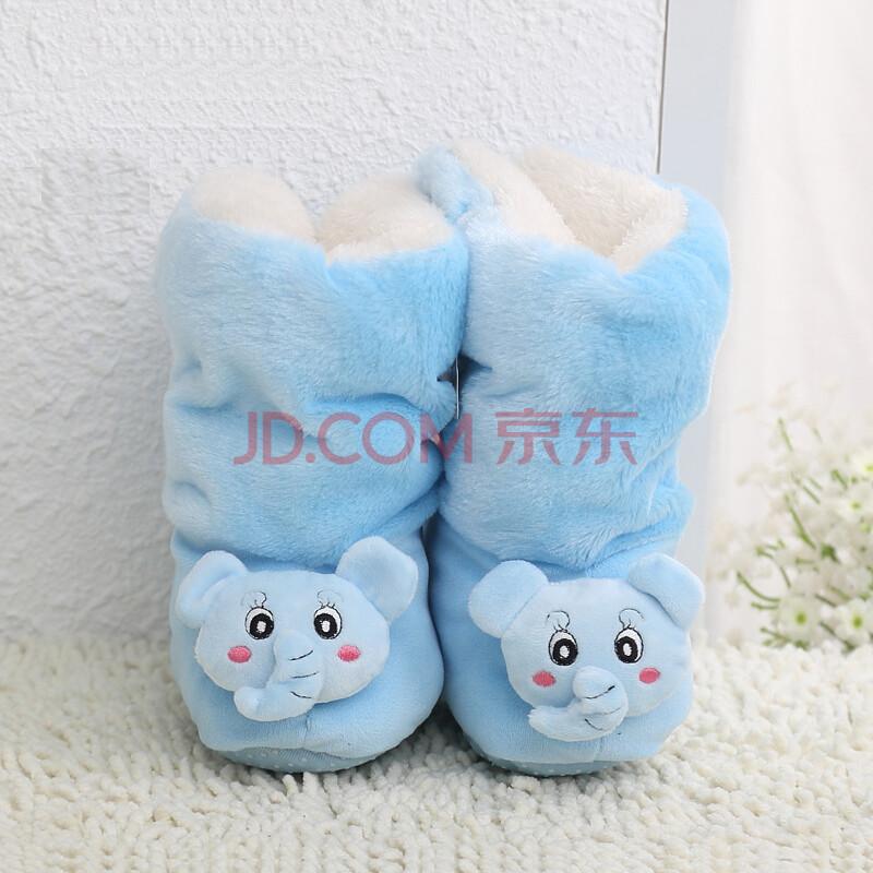 学步鞋 婴儿鞋可爱玩具绒婴儿棉靴宝宝保暖鞋子 b款 蓝色均码