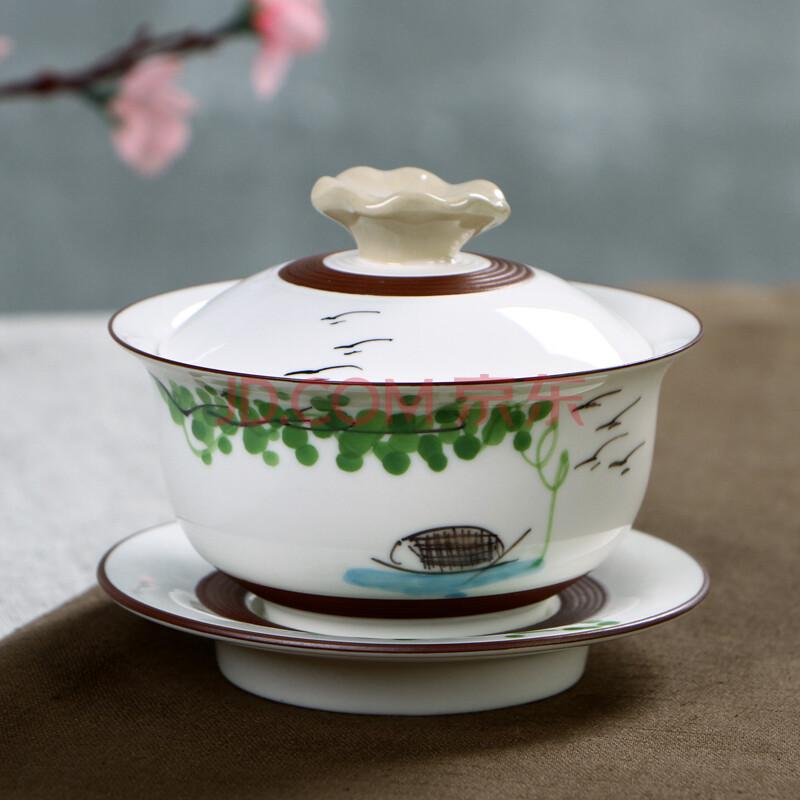 千喜盈 盖碗陶瓷景德镇手绘釉下彩陶瓷三才杯功夫茶具