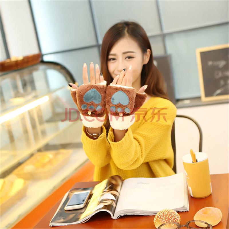 锦色雅维2015新款韩版猫爪手套加厚保暖可爱卡通爱心毛绒手套 秋冬季