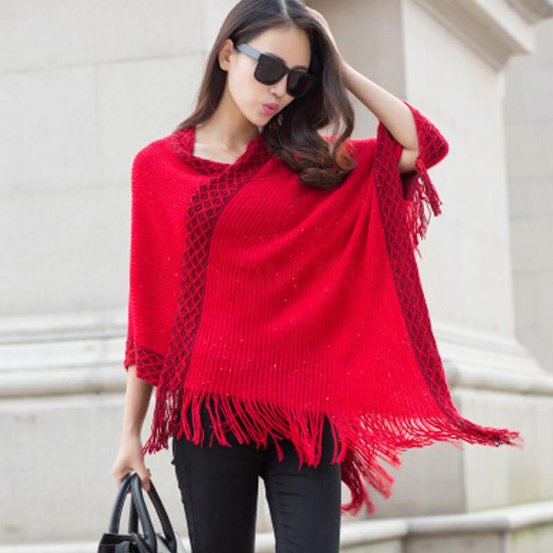 2015韩版不规则流苏斗篷针织衫宽松披肩外套 红色 均码