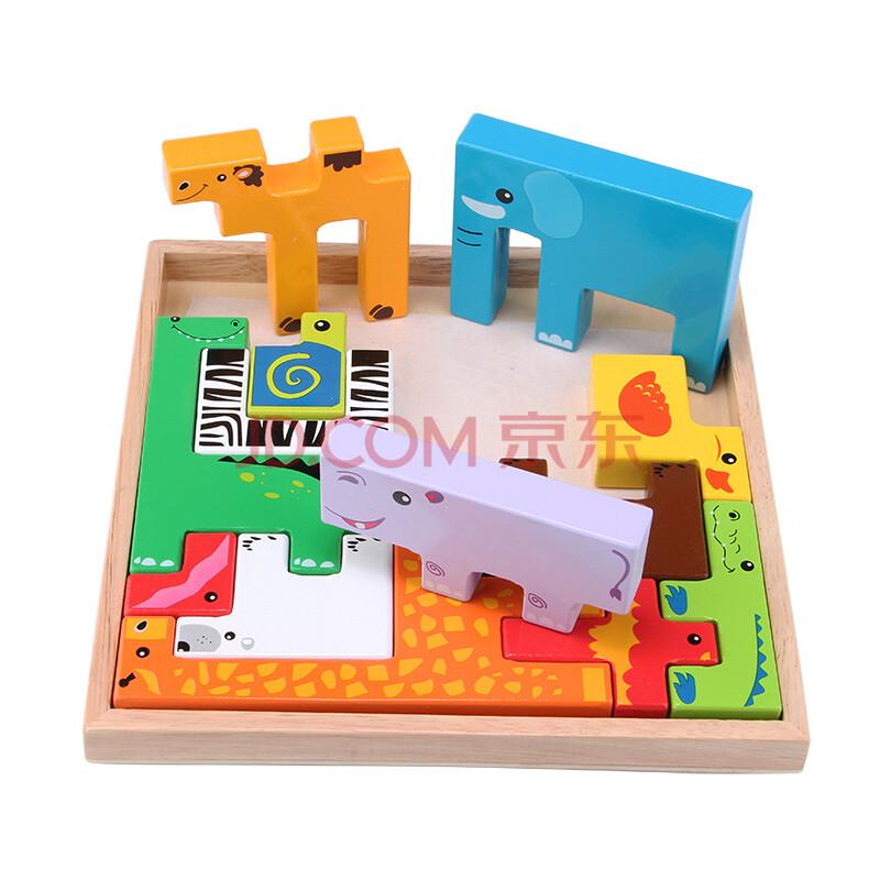 动物积木立体拼图 环保益智木制玩具卡通动物立体积木