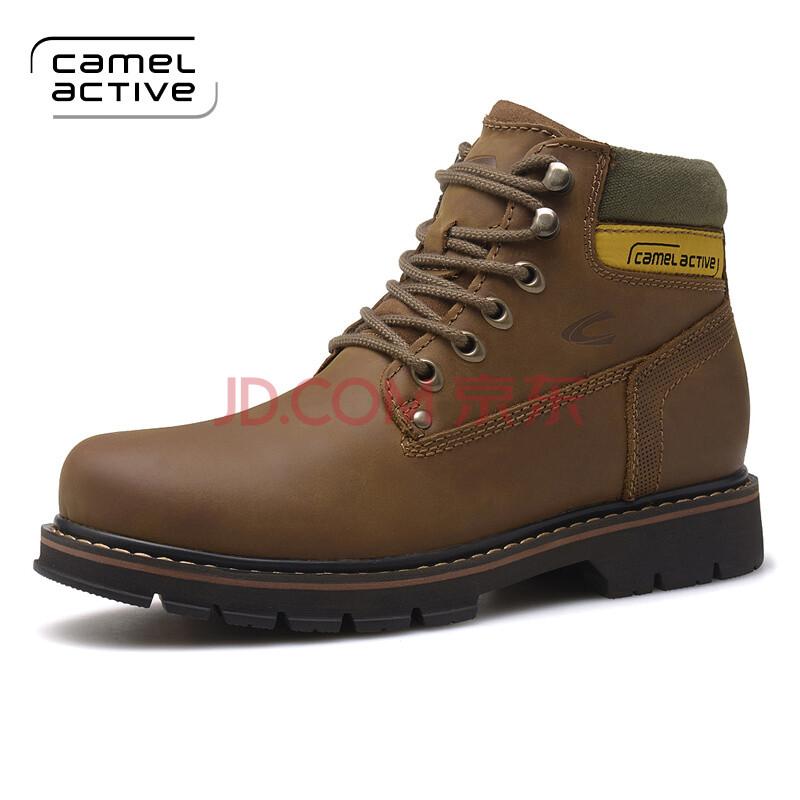 CamelActive骆驼动感磨砂工装靴 马丁靴户外靴 保暖舒高帮棉靴男靴 卡其W8056 42