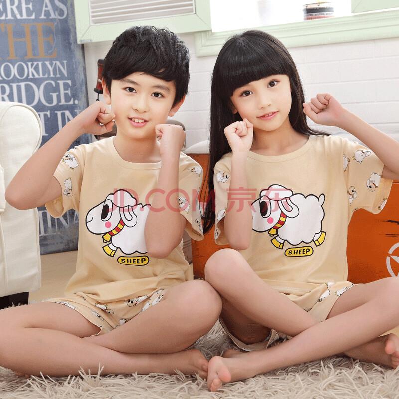 卡托古依夏季短袖儿童套装睡衣小孩子男女孩男童女童装纯棉宝宝卡通