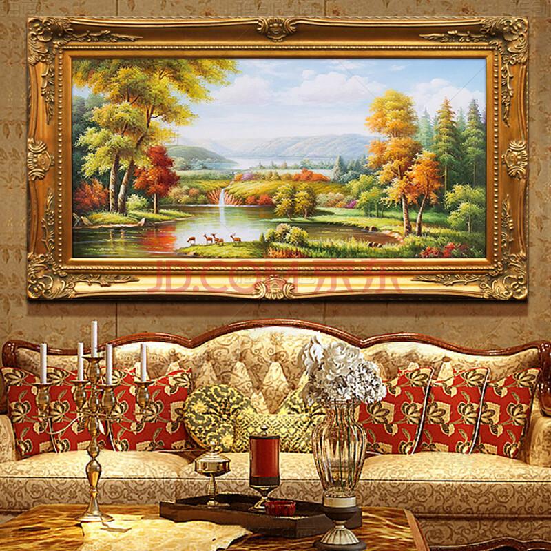 雅创 欧式风景客厅油画纯手绘风景装饰画书房壁画背景