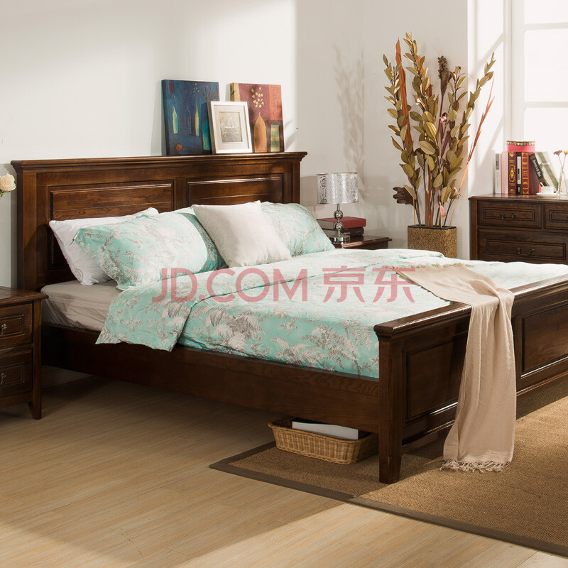 8米双人床环保黑胡桃木床 美式乡村卧室家具 浓咖啡色美式床 1500*