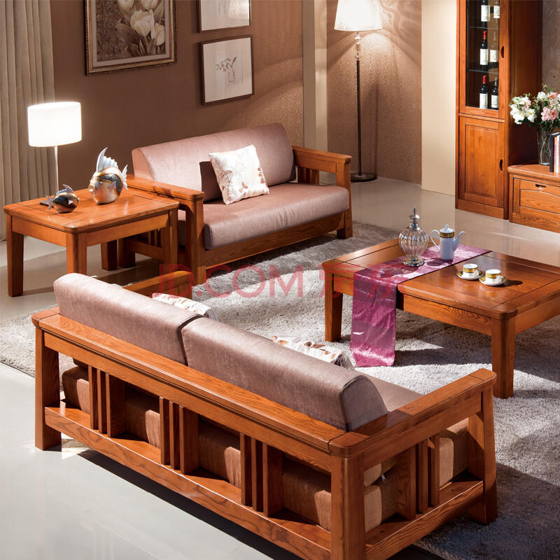 后海 水曲柳全实木布艺沙发 新中式沙组合沙发 纯实木家具 办公沙发图片