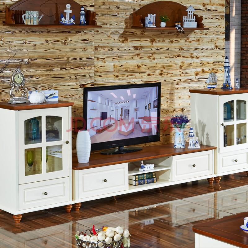 凯莉莎 地中海电视柜 乡村美式实木现代客厅地柜 组合电视柜酒柜 组合