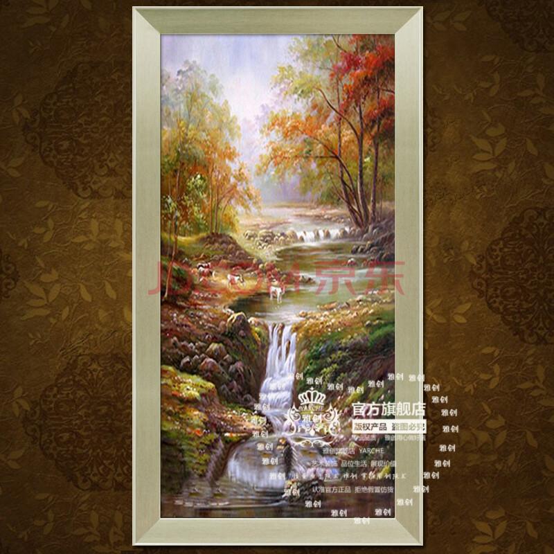 雅创油画 欧式有框手绘油画古典山水风景关走廊简约挂