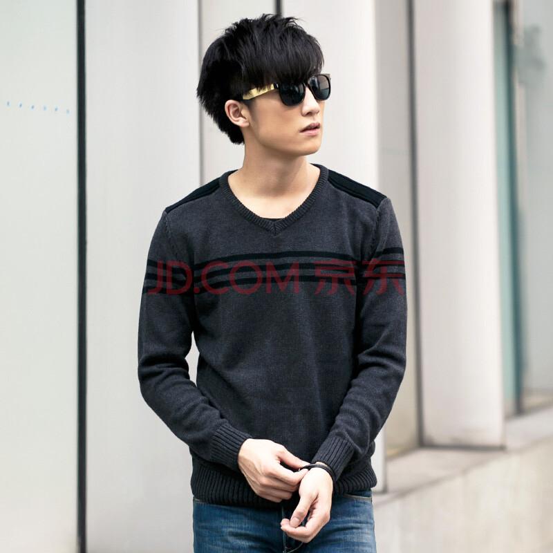 帛莱尼 秋冬季韩版套头男士v领针织衫 外套青年宽松条纹加厚新款毛衣