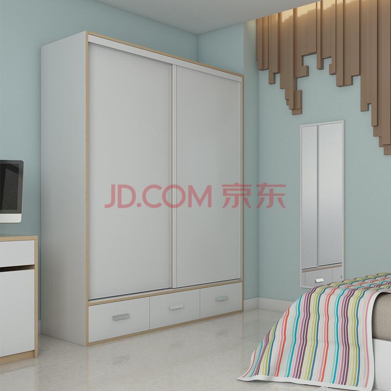 5米推拉门衣柜 暖白 金色年华边 可定制 1.5x2.1m双趟门