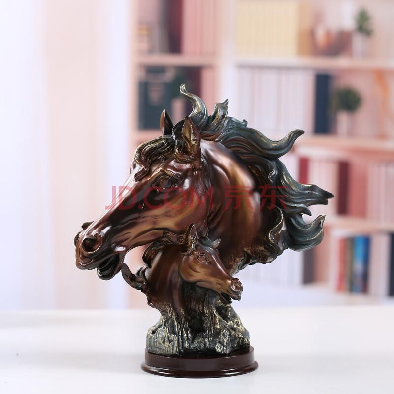 马头摆件 欧式树脂装饰品客厅橱柜餐厅工艺品办公室摆设商务送礼 复古图片