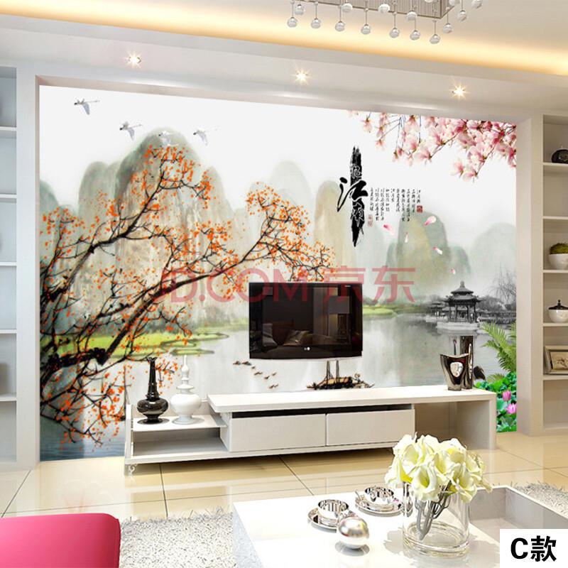 尤蔓江南山水画墙纸壁画现代中式客厅沙发电视背景墙壁纸影视墙无缝图片