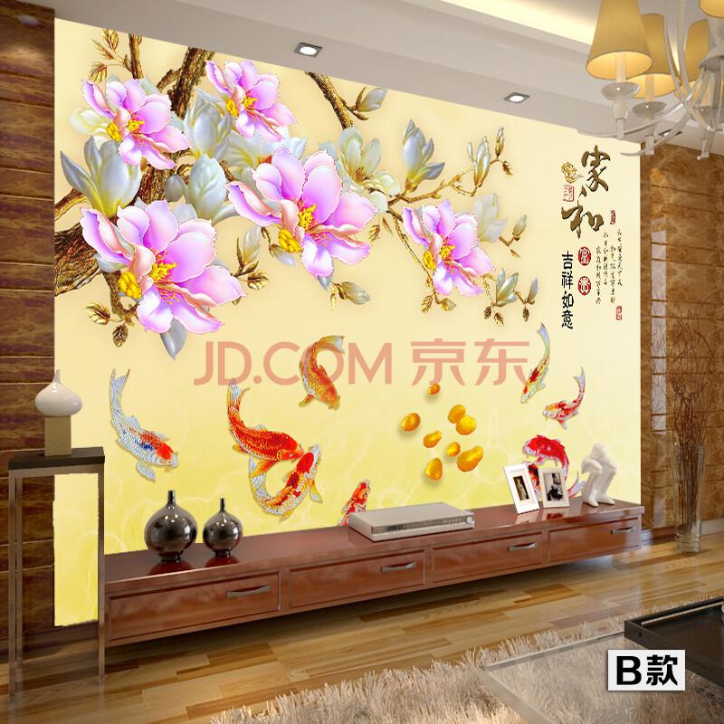 尤蔓无缝壁画墙布现代中式装修客厅沙发电视背景墙金图片