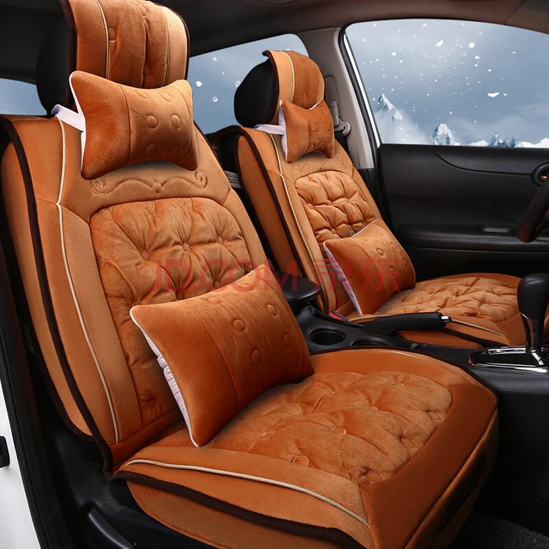 欧玛奴 汽车坐垫冬季车垫保暖通用汽车座垫绒毛座套 橘色 铃木风驭