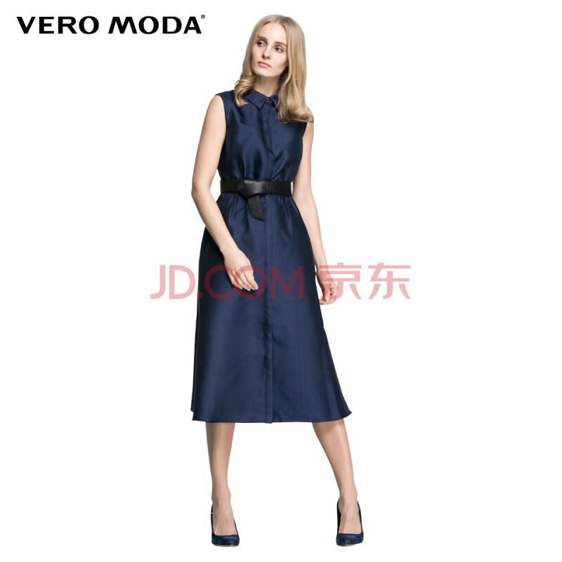 vero moda2016年春装新款无袖设计a字裙摆立体胸型长款连衣裙|31616v0