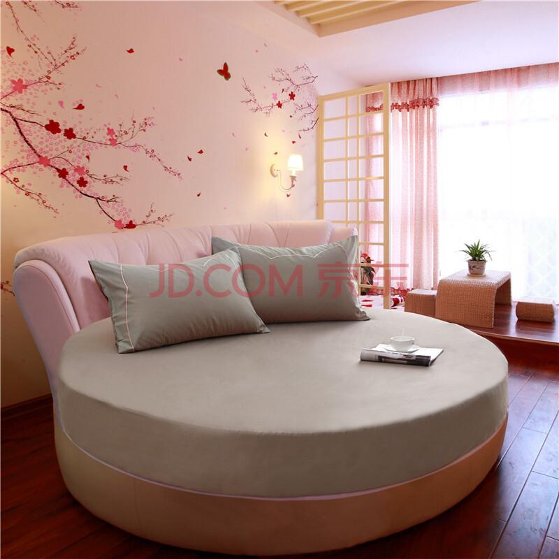 圣蒂诗 全棉圆床床笠单件 纯棉圆形床笠床品床罩床套保护套纯色 2米/2