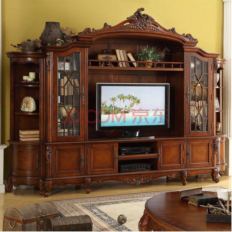 欧璞豪庭 欧式电视柜酒柜组合套装 美式实木背景墙柜奢华厅柜 仿古图片