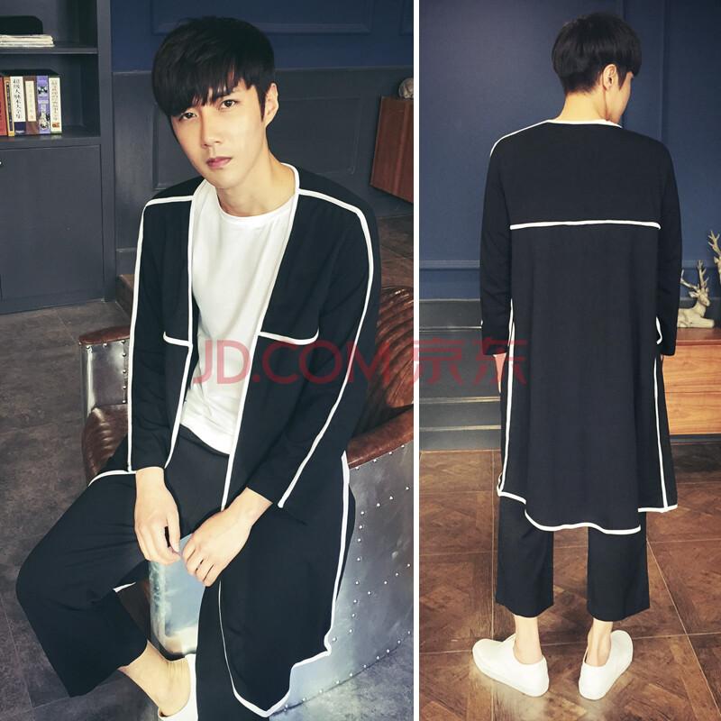 丹杰仕2015秋季新款个性白边条纹长款风衣男外套韩版