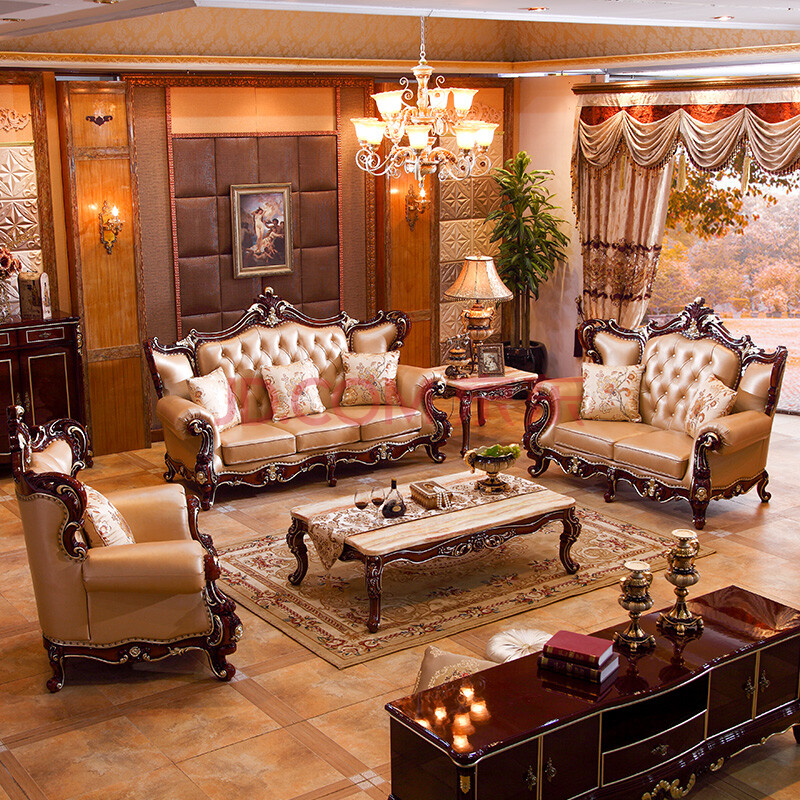 凯思曼 沙发 欧式沙发 法式真皮实木雕花沙发组合 古典客厅大小户型