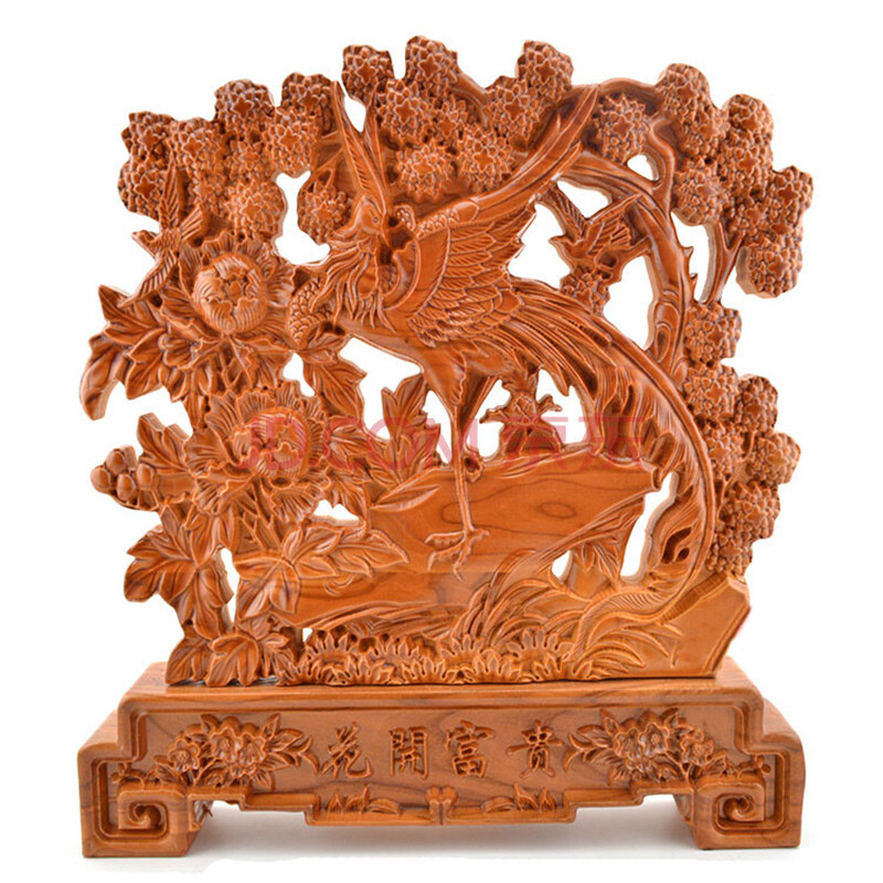 琼玛莎 桃木雕喜上眉梢喜鹊登枝摆件 木雕台屏工艺品风水摆设 客厅