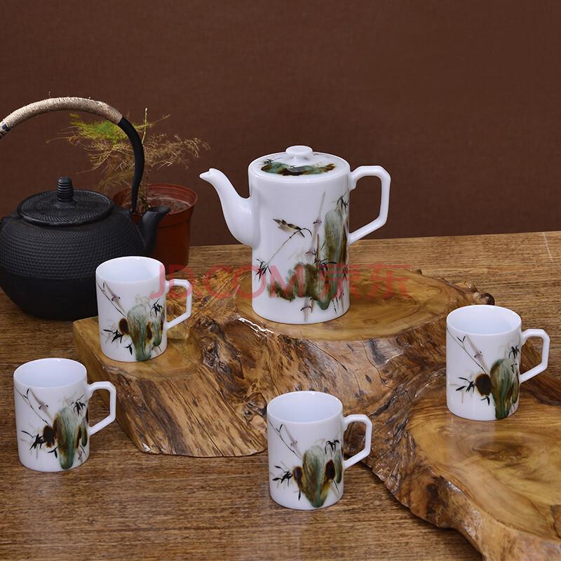 景德镇 正品陶瓷手绘工艺品瓷器茶具套装5头窑变高壶鸣翠春风