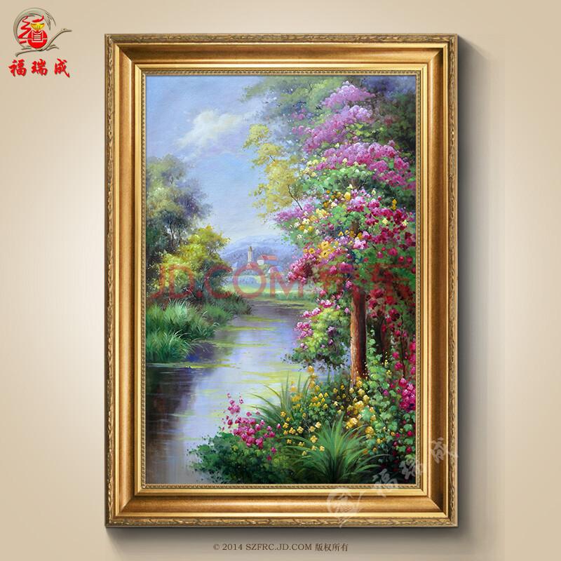 纯手绘油画 欧式客厅花卉有框画 餐厅山水风景印象装饰画 作品一 现货