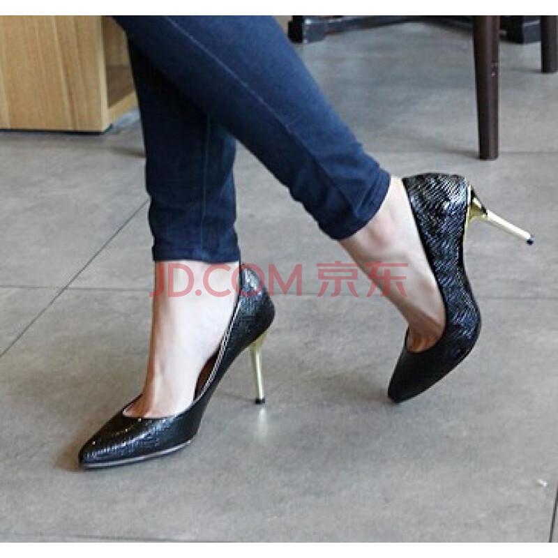 芬妮丝欧美尖头高跟鞋女鞋 蛇纹 36图片