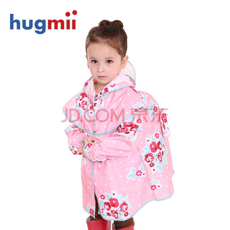 韩国公主风环保儿童雨衣雨披女印花朵背书包穿女童