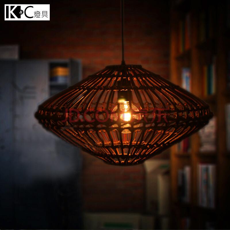 【kc灯具】中式田园风藤编吊灯手工编织创意居家咖啡馆餐厅茶楼灯 含