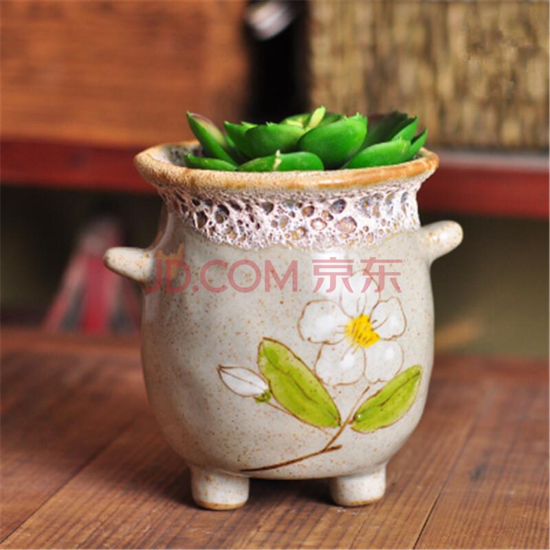 花盆陶瓷多肉植物花盆大号素烧粗陶手绘花盆韩式韩国