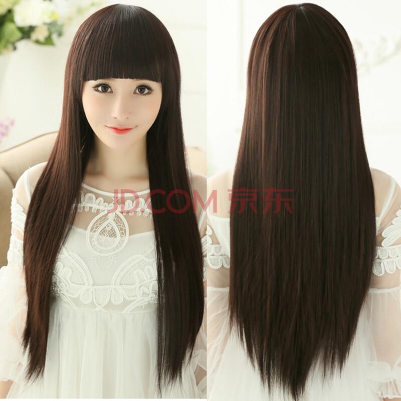 长直发女士齐刘海发套 女生 学生黑长发蓬松逼真头发可爱发型长发直发图片