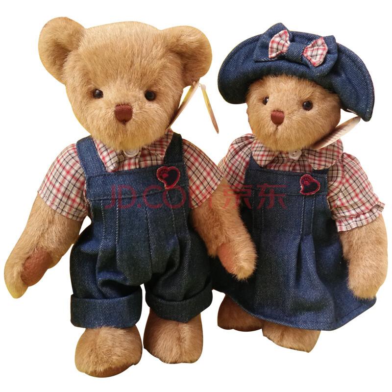 变身兔子熊猫驯鹿纯手工情侣熊布娃娃玩偶 生日礼物女生 牛仔情侣熊