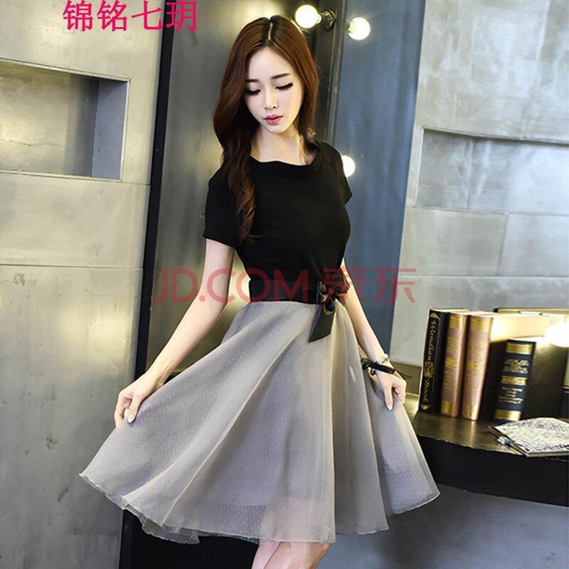 一字领连衣裙修身女中长款套裙高腰大摆裙蝴蝶结腰带